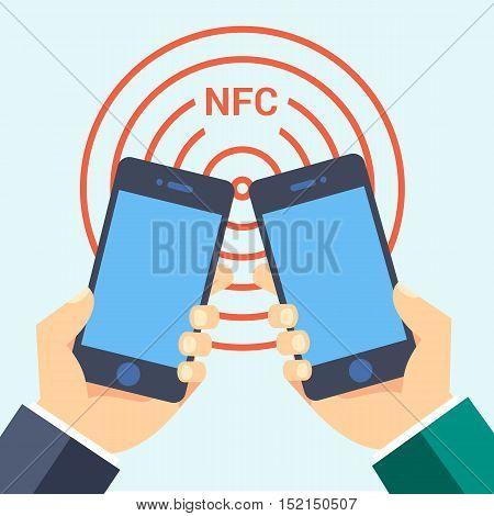 nfc smart phone technology business card icon flat web sign symbol logo label set