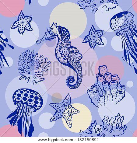 Seamless Marine theme black background. Endless pattern with seahorse, jellyfish and starfish. Tatoo stile illustrarion