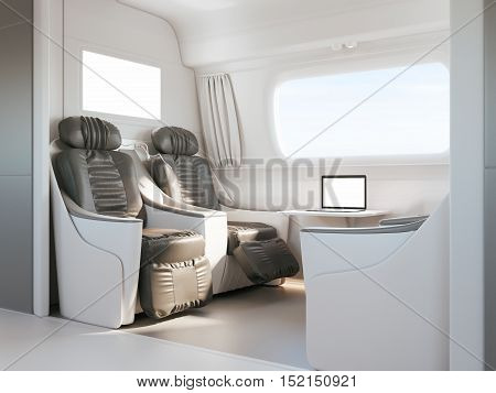 Interior of modern express train or bus. Nobody inside cabin, big window with neutral view. Motion blur. Comfortable chairs and table in foreground, green and sun in background. Travel. 3d rendering