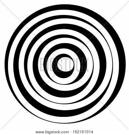 Concentric Circles W Dynamic Irregular Line. Monochrome Abstract Spiral, Ripple Element