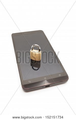 Smartphone With Small Lock On It - Mobile Phone Security And Data Protection Concept
