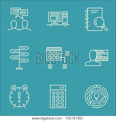 Set Of Project Management Icons On Computer, Investment And Discussion Topics. Editable Vector Illus