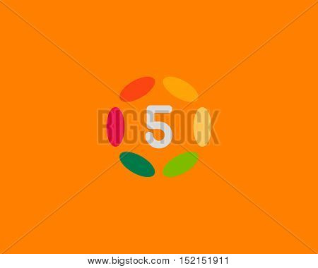 Color number 5 logo icon vector design. Hub frame numeral logotype