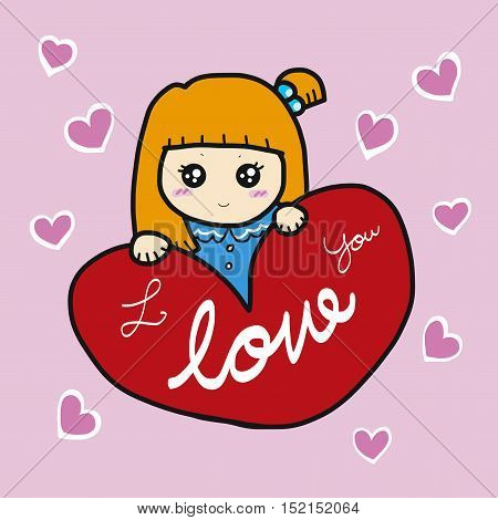 Cute girl and red heart cartoon illustration