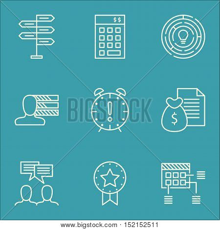 Set Of Project Management Icons On Discussion, Investment And Time Management Topics. Editable Vecto