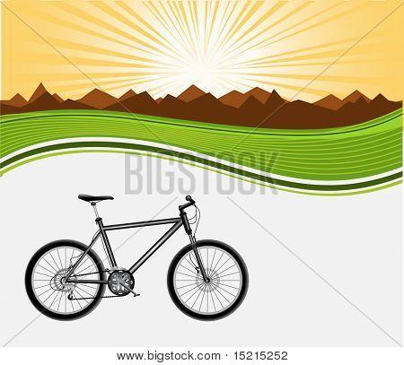 black bicycle on background