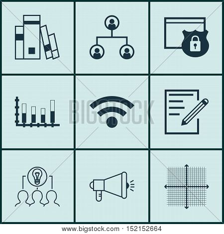 Set Of 9 Universal Editable Icons For Statistics, Seo And Advertising Topics. Includes Icons Such As