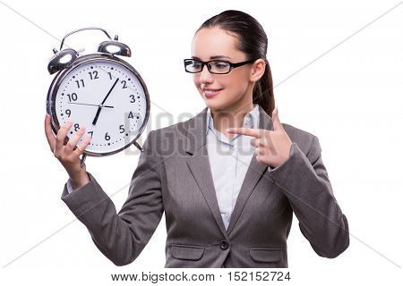 Businesswoman with clock in business concept