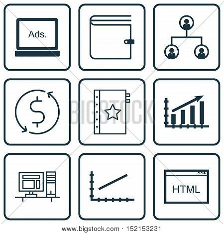 Set Of 9 Universal Editable Icons For Advertising, Statistics And Marketing Topics. Includes Icons S