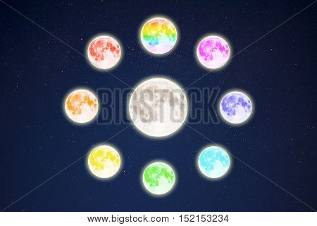 Rainbow colored moons around the full moon on starry sky. Full moon and stars.