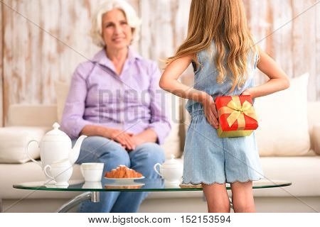 I have something for you. Lovely girl is congratulating her grandmother with birthday. She is hiding present behind her back. Old woman is sitting and smiling with surprise