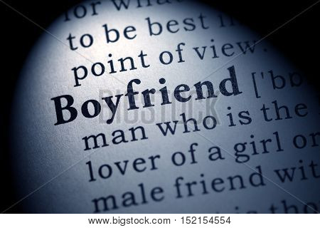 Fake Dictionary Dictionary definition of the word boyfriend.