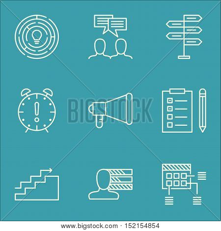 Set Of Project Management Icons On Announcement, Schedule And Innovation Topics. Editable Vector Ill