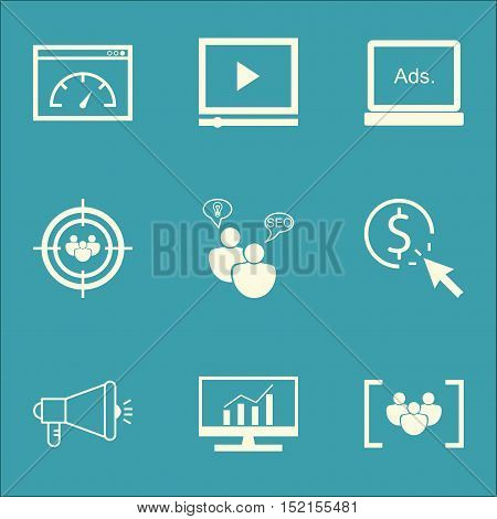 Set Of Advertising Icons On Ppc, Video Player And Loading Speed Topics. Editable Vector Illustration