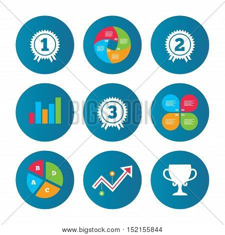 Business pie chart. Growth curve. Presentation buttons. First, second and third place icons. Award medals sign symbols. Prize cup for winner. Data analysis. Vector