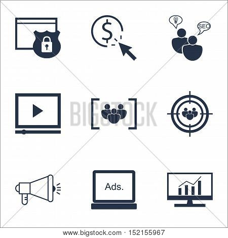 Set Of Advertising Icons On Questionnaire, Video Player And Digital Media Topics. Editable Vector Il