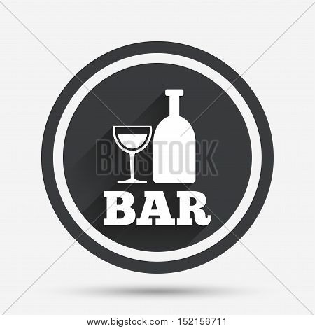 Bar or Pub sign icon. Wine bottle and Glass symbol. Alcohol drink symbol. Circle flat button with shadow and border. Vector