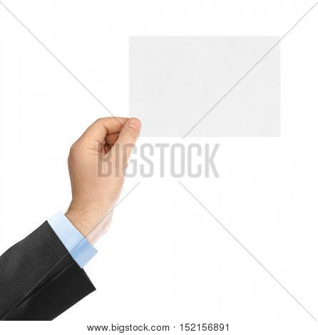 Blank paper card in hand isolated on white background