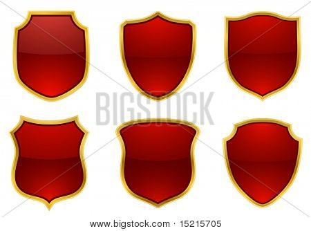 red-golden shields, vector