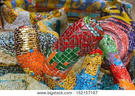 Mosaic pattern in Sentosa Singapore - travel background