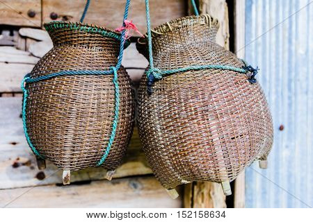 Fishing Creel, Basketwork Made From Bamboo, Handmade In Thailand.