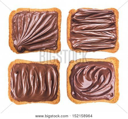 Toast with chocolate cream isolated on white background