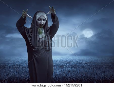Scary Asian Nun On A Black Cape Standing