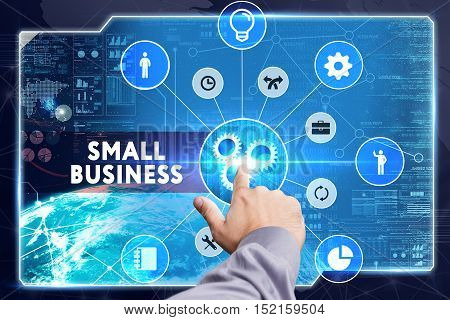 Business, Technology, Internet And Network Concept. Young Businessman Working On A Virtual Screen: S