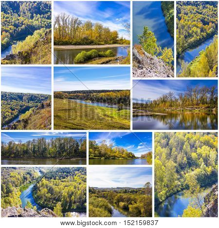 The river Berd in the different seasons of the year Novosibirsk oblast Siberia Russia. A collage of photos