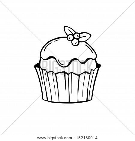 Cake with frosting and blueberries. Black and white vector illustration. Suitable for making stamps prints laser engraving.