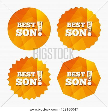 Best son ever sign icon. Award symbol. Exclamation mark. Triangular low poly buttons with flat icon. Vector