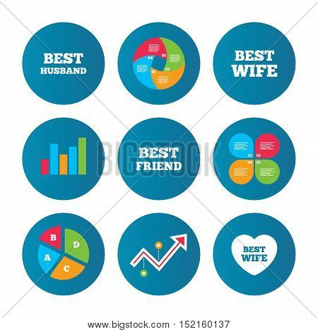Business pie chart. Growth curve. Presentation buttons. Best wife, husband and friend icons. Heart love signs. Award symbol. Data analysis. Vector