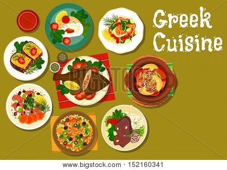 Greek cuisine stuffed flounder fish icon with seafood risotto, baked lamb shank, octopus salad with dried fruit, potato lamb stew, fried sea perch, fish roll stuffed feta, eggplant stew moussaka