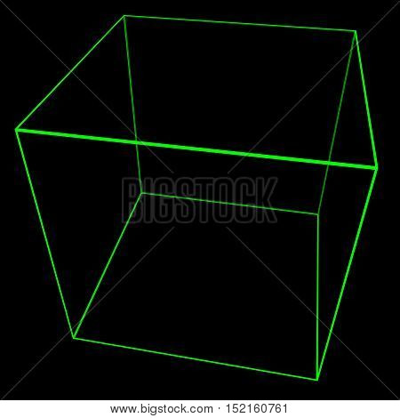 3D Cube Mesh With Glowing Green Edge Lines 3D Illustration