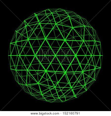 3D Geosphere Mesh With Glowing Green Grid Lines 3D Illustration