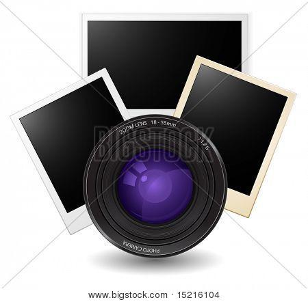 lente con tarjetas fotográficas