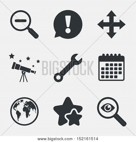 Magnifier glass and globe search icons. Fullscreen arrows and wrench key repair sign symbols. Attention, investigate and stars icons. Telescope and calendar signs. Vector