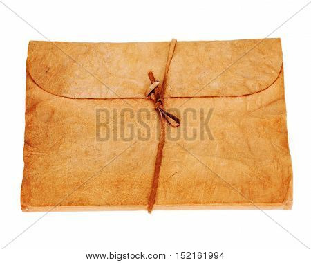 Old diary or photo album book isolated on white background.