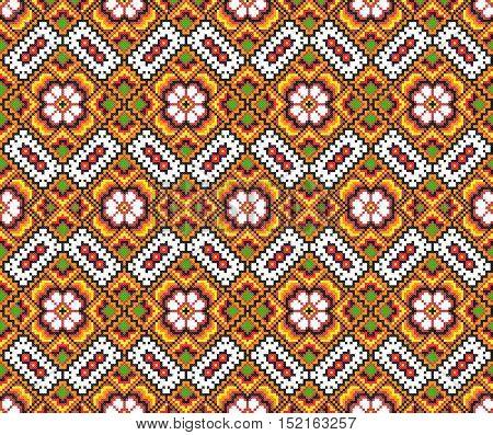 embroidered good like old handmade cross-stitch ethnic Ukraine pattern. Ukrainian seamless ornament in vector