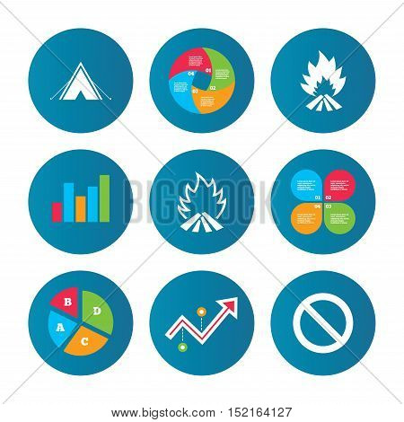 Business pie chart. Growth curve. Presentation buttons. Tourist camping tent icon. Fire flame and stop prohibition sign symbols. Data analysis. Vector