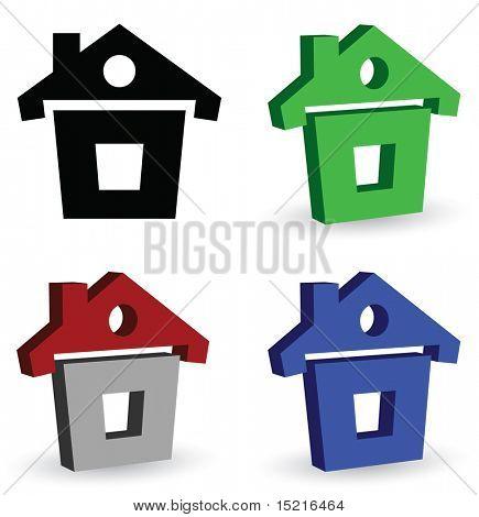 house - 3d web icon