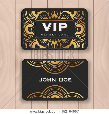 Golden mandala VIP access card. Special guest tag card design with dark and luxury ornament. Premium personal name card template for your business. Vector illustration
