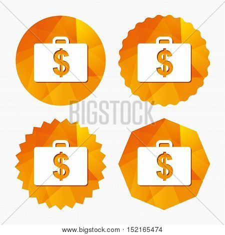 Case with Dollars USD sign icon. Briefcase button. Triangular low poly buttons with flat icon. Vector