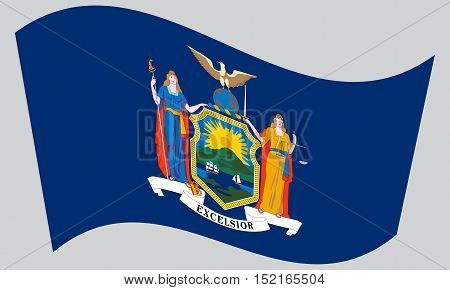 New Yorker official flag symbol. American patriotic element. USA banner. United States of America background. Flag of the US state of New York waving on gray background vector