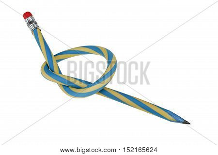 Flexible knotted pencil isolated on white background with clipping path
