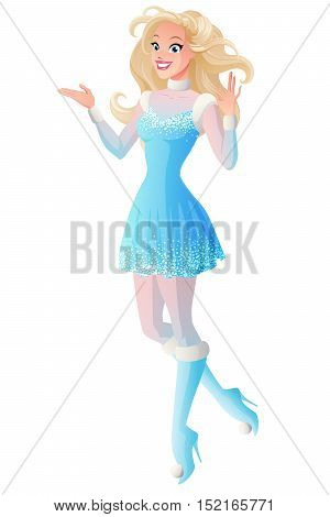Pretty young woman in blue winter fairy snow maiden costume presenting and showing OK sign gesture. Cartoon style vector illustration isolated on white background.