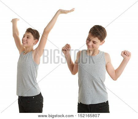 Set of cute teenager boy in gray shirt stretching hands up over white isolated background, half body