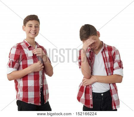 Set of cute teenager boy in red checkered shirt putting business card into pocket over white isolated background, half body