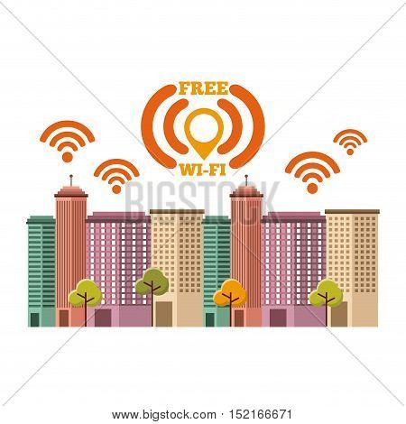 cityscape with wifi service vector illustration design