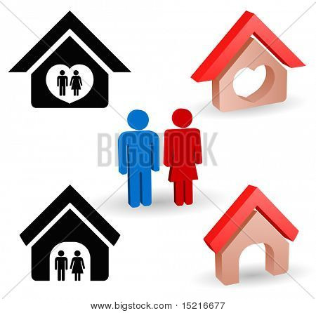 person and house icon